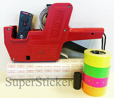 Mx-5500 8 Digits Price Tag Gun 5000 White W Red Lines Labels Free Gift