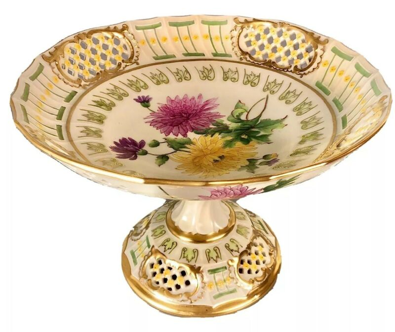 Antique Porcelain Compote/Centerpiece Reticulated Gilt Handpainted - Austria