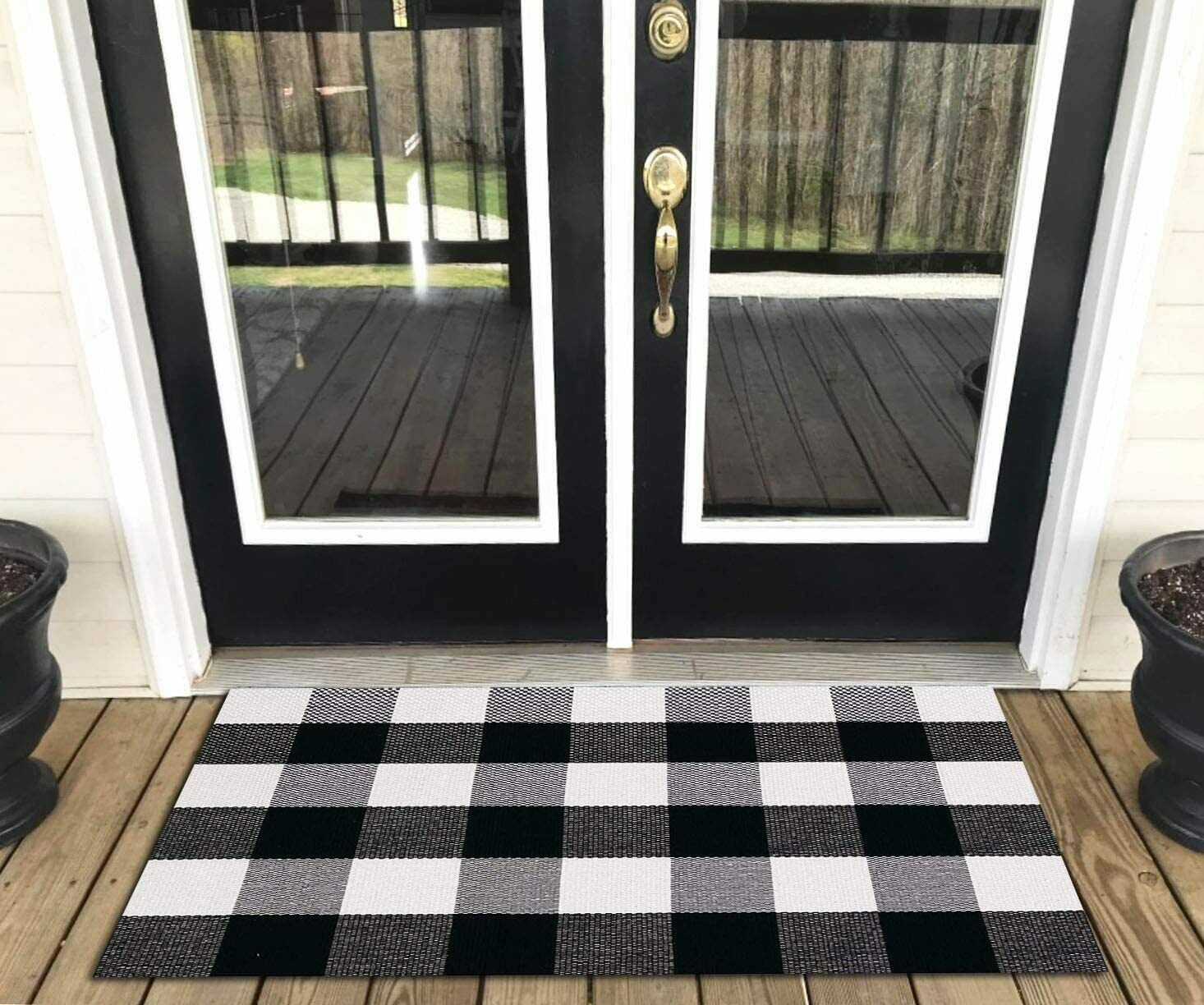 Cotton Buffalo Plaid Kitchen Rug Black and White Checkered Rug Welcome Door Mat