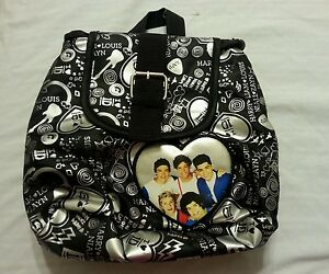 One Direction Girls Mini Backpack Purse Tote Bag Handbag Black Silver 1D