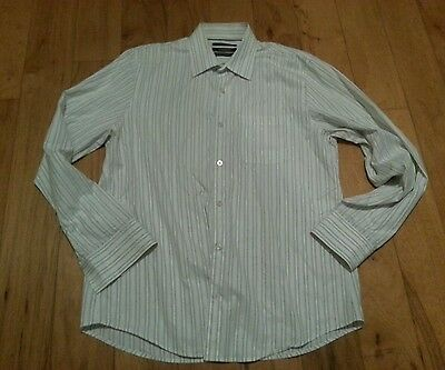 Club Monaco long sleeve button down dress shirt Large white with blue stripes