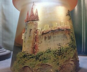 RARE SIGNED HANDEL LAMP SHADE HAND PAINTED CASTLE SCENE SLAG GLASS ARTS&CRAFTS