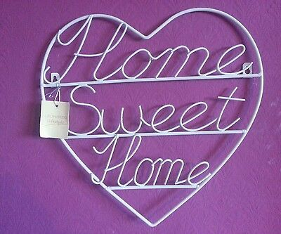Metal cream Heart.Home Sweet Home.Wall plaque Hanging Sign 22x19cms