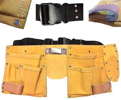 Werkzeuggürtel Leder 11 Taschen 2 Hammer Halter Zimmermanngürtel beste Qualität