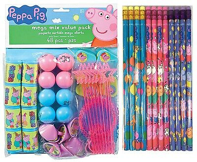 60Pc PEPPA PIG Birthday Mega Mix Value Favors Pack Party Decorations Supplies  - Peppa Pig Birthday Supplies