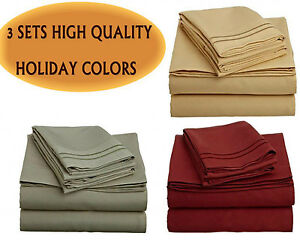 3-SETS-OF-1500-COUNT-4-PIECE-BED-SHEET-SETS-BURGUNDY-RED-OLIVE-GREEN-CAMEL-GOLD
