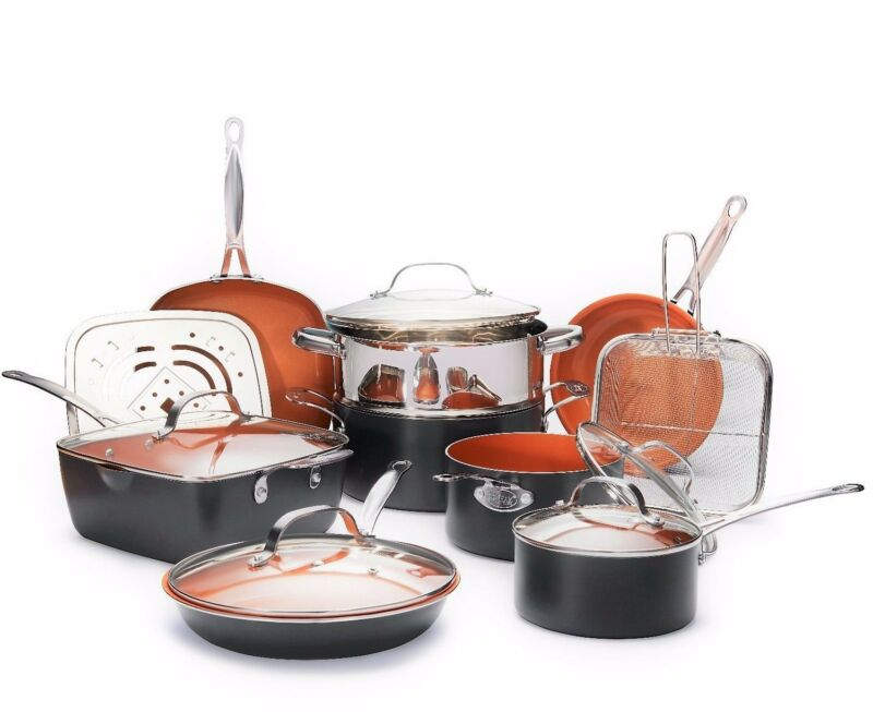 Gotham Steel Nonstick Ultimate 15 Piece All in One Kitchen Copper Cookware Set