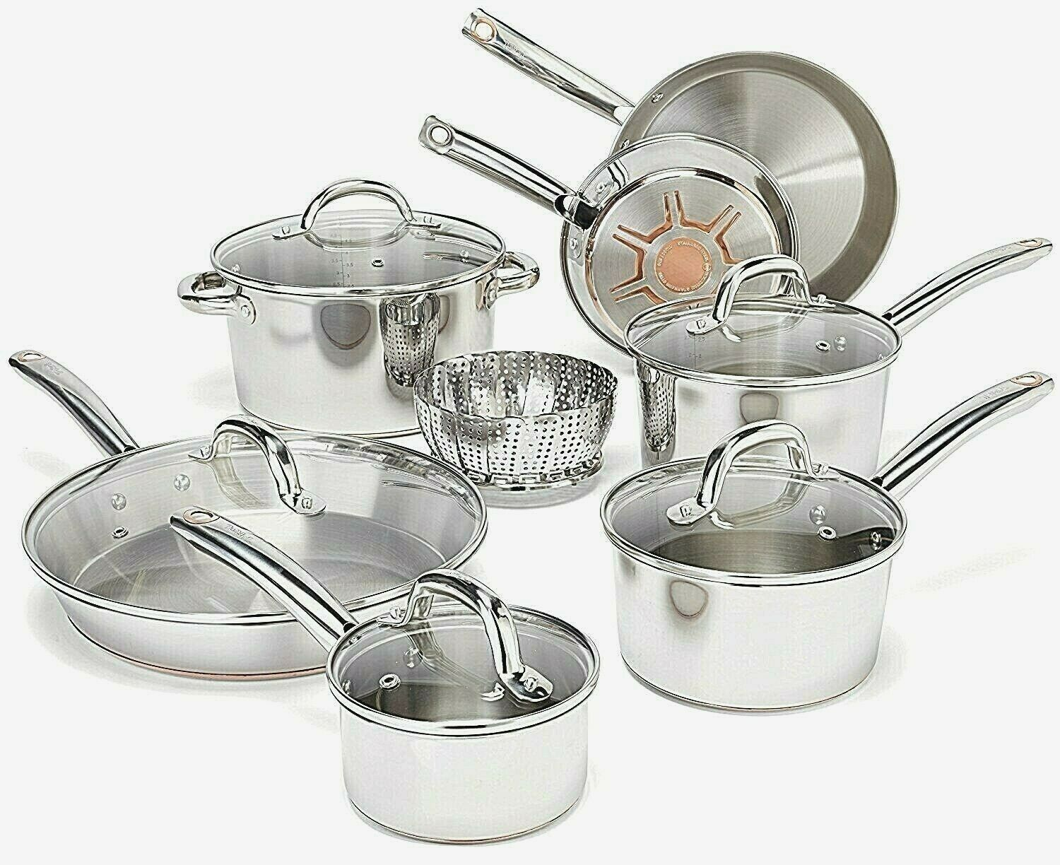 T-fal Cookware Set Pots and Pans 13 Piece Stainless Steel wi
