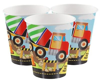 Boys Toddler Construction Builder Digger Themed Birthday Party Cups Tableware