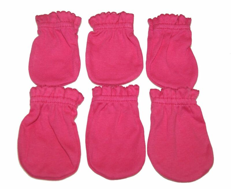 6 Cotton Newborn Baby/infant No Scratch Mittens Gloves - Rose Pink