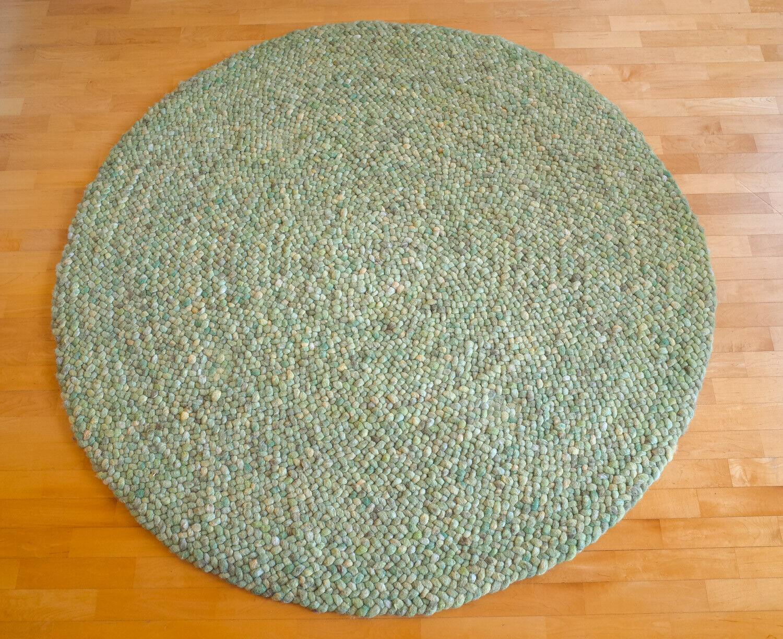 Handwebteppich Bolero 40 grün 100% Schurwolle 150cm Durchmesser