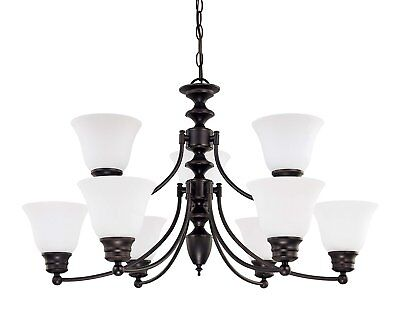 Nuvo 60/3361 Empire 9 Light Mahogany Bronze And Frosted Glass Chandelier