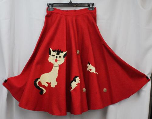 Vtg Poodle Skirt Cats 1950s Heavy Felt Huge Sweep Full Circle Girls 24 Waist XS