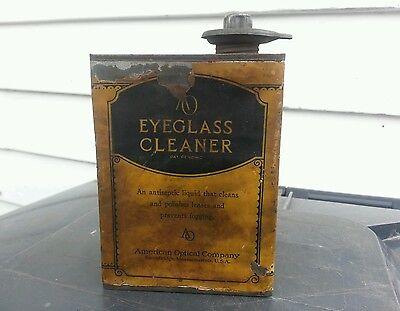 Rare advertising american optical company EYEGLASS CLEANER liquid tin can