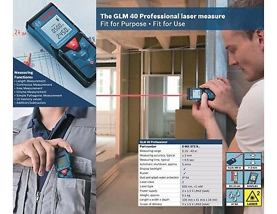 Bosch Glm 40 Laser Measurer Digital Distance Tapepoint40 Meter Range Finder
