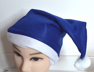 Blue And White Santa Hats (NEW Navy Blue and White Santa Hat 58-60cm fancy dress Christmas)