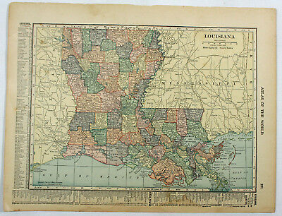 Louisiana Original C.S. Hammond Antique 1918 Indexed Geography Engraved Map