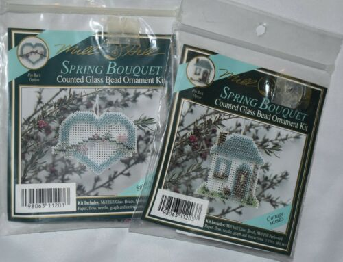 2 Mill Hill Counted Glass Bead Ornament Kit Spring Bouquet Cottage Spring Heart
