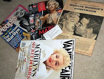 autograph of Joe DiMaggio, article 1954 on marriage to Marilyn Monroe & 3 Mags