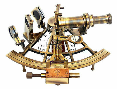 """Nautical Sextant Antique Brass Henry Barrow London 8/"""" Ship Astrolabe With Box"""