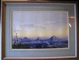 Herman-Pekel-original-Watercolor-titled-The-Glasshouse-Mountains-Australia
