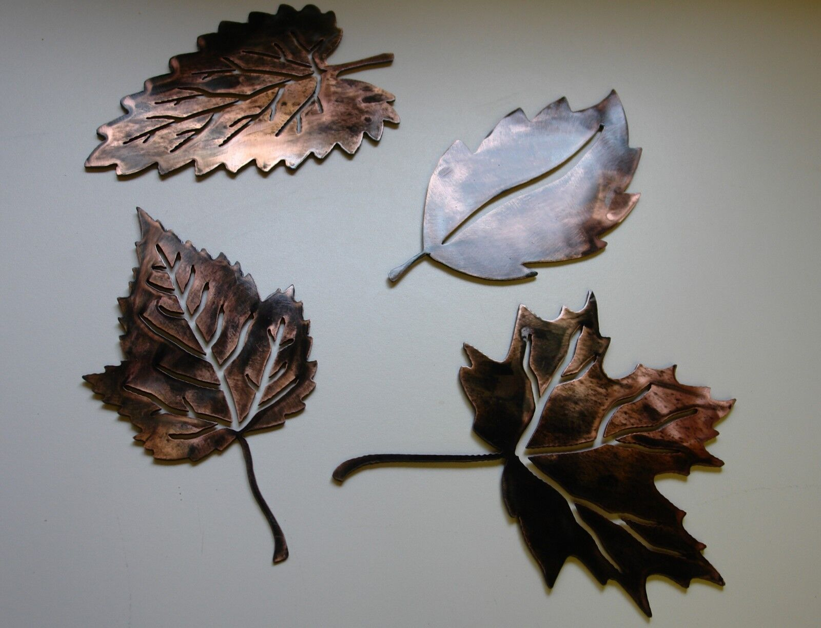 Metal Wall Art Leafs 4 Each Copper/bronze Plated By Hgmw