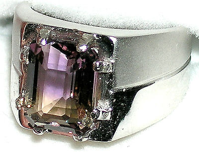 Men's Bolivian Ametrine Ring R5 Sterling Silver Or Stainless Steel You Pick