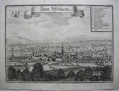 Stadt Weilheim Oberbayern  Orig Kupferstich Michael Wening 1701 Gesamtansicht