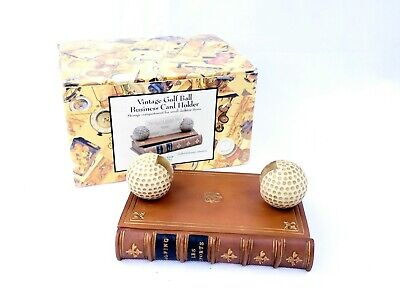 Vintage Golf Ball Business Card Holder With Storage Compartment