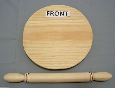 Round Wooden Dough Rolling Pin & Pastry Board Madera Tortilla Pizza Flat Bread  Round Rolling Pin