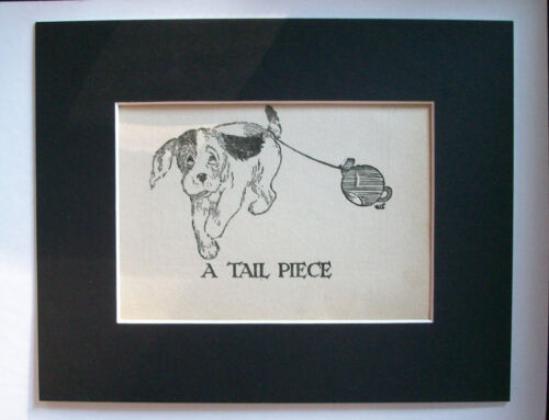 Puppy Dog Print 1930s Bookplate Tail Piece Drag Teapot 8x10 Matted Comical Cutie