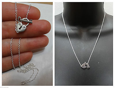NEW 925 Sterling Silver Toggle Heart key Pendant Lariat style Necklace for sale  Shipping to Nigeria