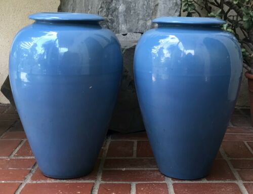 Vintage Set of 2 Federal Blue Large Bauer Pottery Oil Jars, weighted w/ concrete