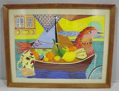 Vintage Framed Pen & Acrylic Painting Picture 'Bird Boat' By C. Higgins 1984 Acrylic Painting Video