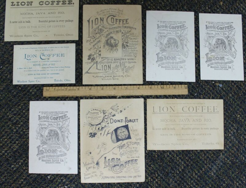 Lot of 8 Lion Coffee / Woolson Spice Co. Trade Card Toledo Ohio (A)