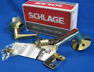 SCHLAGE - Polished Brass - Closet Hall Passage Door Lever Set - F10N LEV 605 Door Lever Set Polished Brass