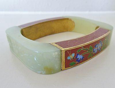 Antique Chinese Celadon Jade Floral Cloissone Art Deco Square Bangle Bracelet