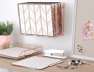 Rose Gold Desktop Filing Set Desk Orgainzer Hanging File Basket Letter Tray