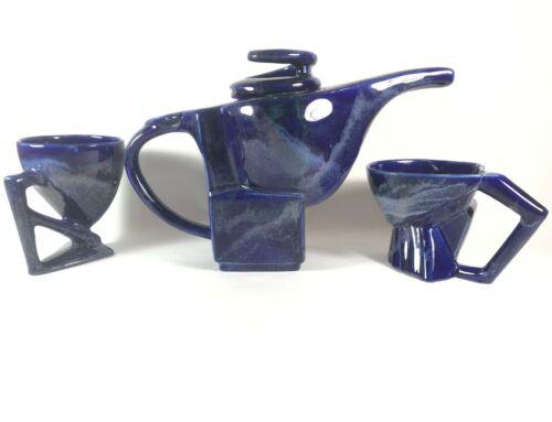 Postmodern Tea Set Memphis Style 1980s Studio Pottery