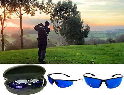 - Golf Ball Finder Glasses Blue Lenses Sunglasses Black Frame Zipper Case Gift USA
