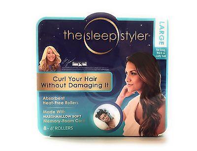 """The Sleep Styler Kit Long NIP 8 Teal Rollers Curlers 6"""" Long Shark Tank Curlers"""