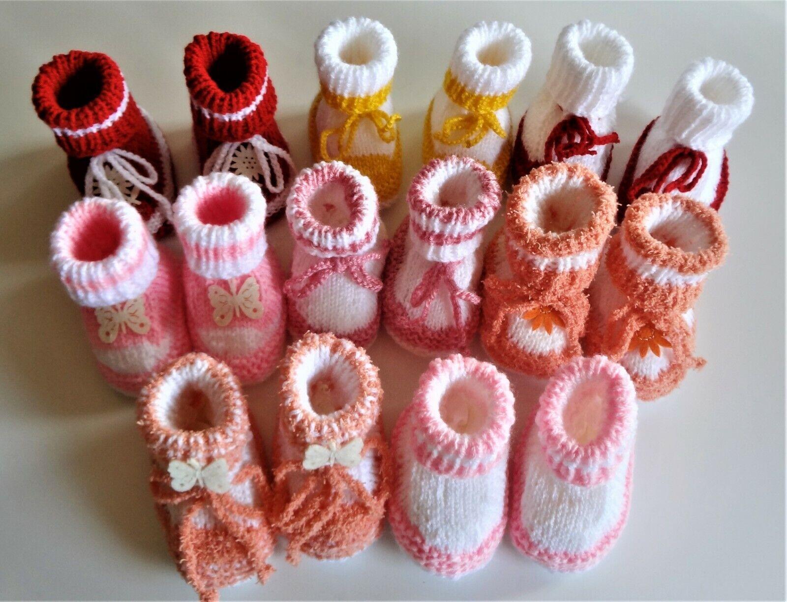 Babyschuhe Babysöckchen gestrickt 9 cm Handarbeit Schuhe NEU (4)