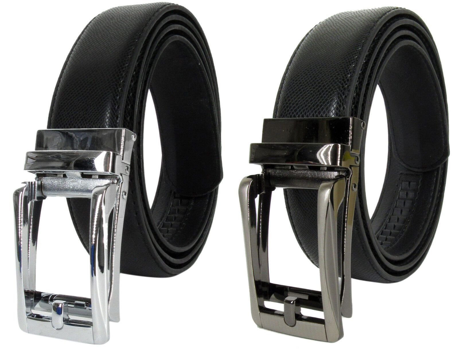 Men Genuine Leather Automatic Ratchet Click Lock Buckle Comfort Click Belt Belts