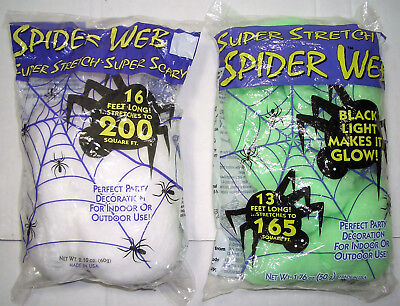 HALLOWEEN/PARTY SPIDER WEB WHITE(200sq.ft) OR GREEN(165sq.ft) INDOOR/OUTDOOR - Green Halloween Spider Web