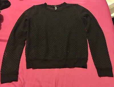 Aqua Brand Black Fishnet Long Sleeve Top Size XS Black Long Sleeve Fishnet