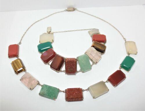 Vtg Sterling Silver Gemstone Necklace Bracelet Set Faceted Cut Mixed Stones