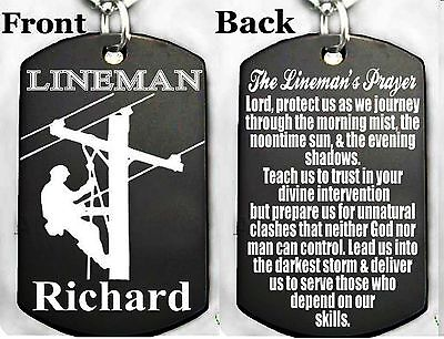 A LINEMAN'S PRAYER-Dog tag Necklace or Key chain + FREE (Lineman Chain)