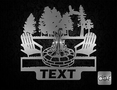 Campfire Monogram With Text - Dxf Cdr Svg Files For Cnc Plasma Router Laser Cut