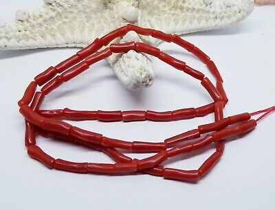 "RARE NATURAL MEDITERRANEAN SEA ITALIAN RED CORAL TUBE BEADS 9-12mm 21.75"" 51.5ct for sale  Shipping to India"