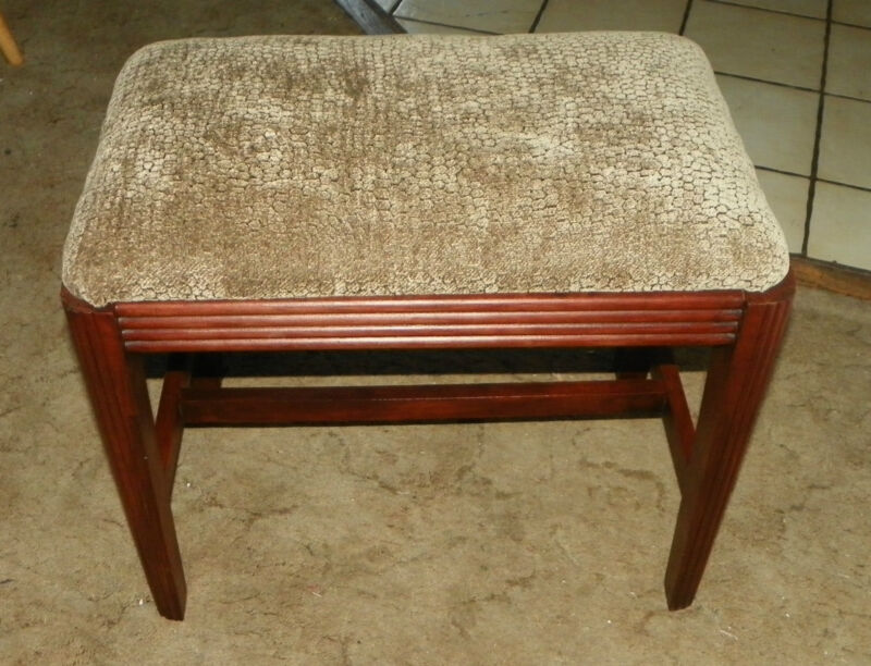 Fluted Mahogany Taupe Chenille Print Vanity Bench   (JLC-BN87)